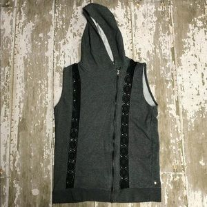 Fabletics Vest Full Zip Lace Hooded Sleeveless L